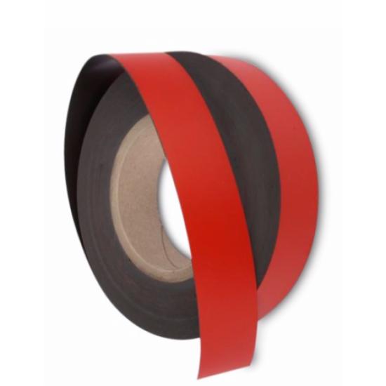 Banda magnetica colorata, rosu, gros. 0,75mm, latime 30mm - 1 metru liniar NEADEZIVA !!!