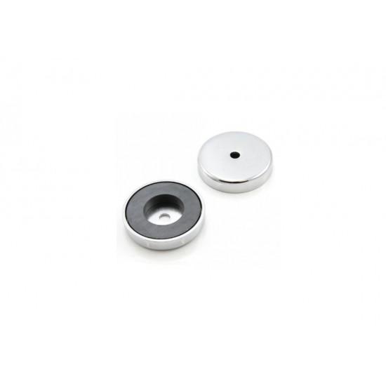 Magnet SrFe tip oala, diam: 100mm, cu orificiu, cu cap inecat