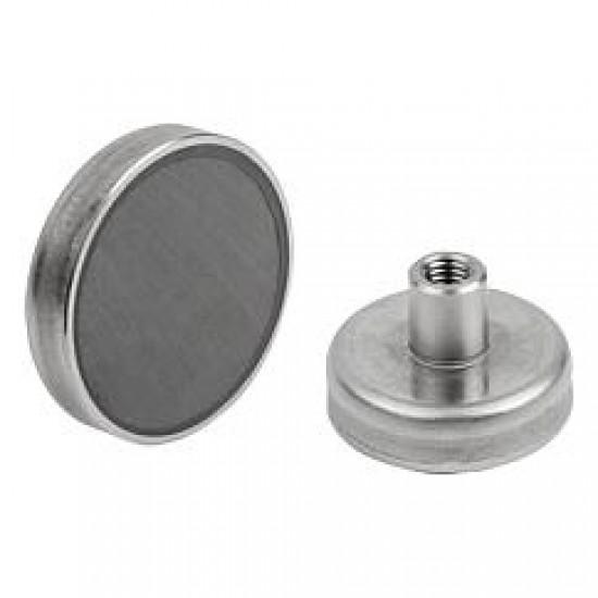 Magnet SrFe tip oala, diam: 80mm, cu cu filet interior