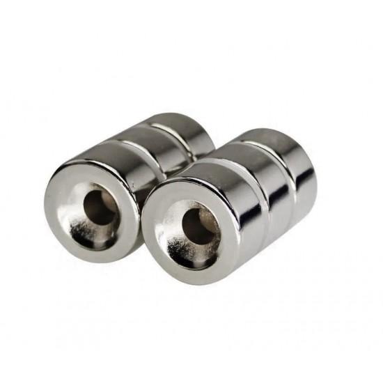 Magnet neodim inel 20mm x 5mm x 10mm, N35, cu sanfren