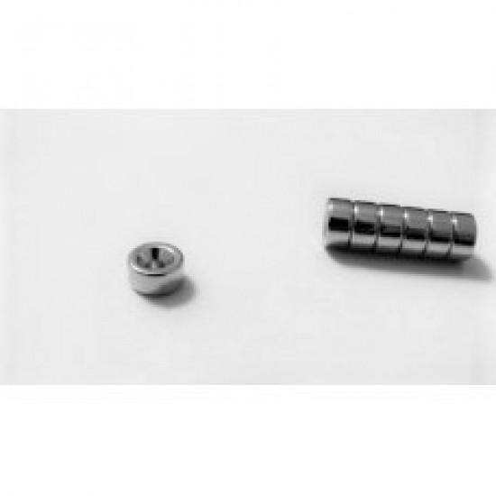 Magnet neodim inel 8mm x 2.5mm x 4mm, N48, cu sanfren
