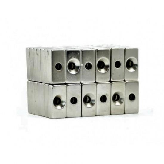 Magnet neodim bloc 20mm x 10mm x 5mm, N48, cu orificiu