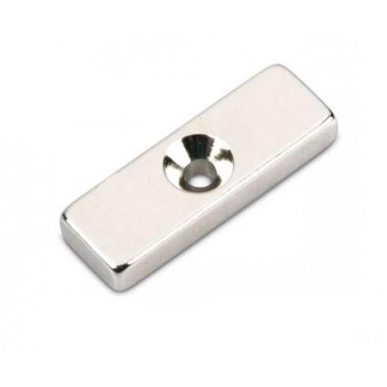 Magnet neodim bloc 30mm x 10mm x 5mm, N48, cu orificiu