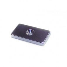 Magnet neodim bloc 40mm x 20mm x 5mm, N48, cu orificiu