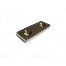 Magnet neodim bloc 50mm x 20mm x 5mm, N48, cu 2 orificii - Nord