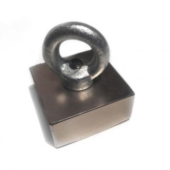 Magnet pentru pescuit - bloc 50mm x 50mm x 25mm, N48 cu inel O