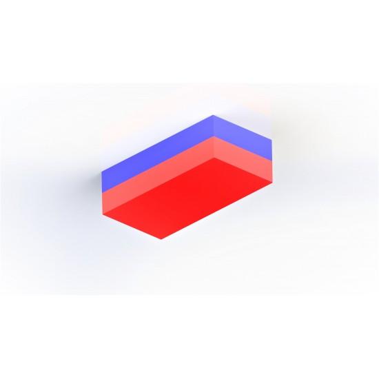 Magnet neodim bloc 50mm x 20mm x 5mm, N48, cu 2 orificii - Sud