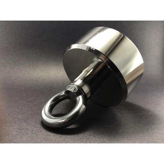 Magnet pentru pescuit 80mm x 55mm, cu strat de nichel extra, 350 kg